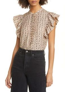 Joie Gabriana Flutter Sleeve Cotton & Silk Top