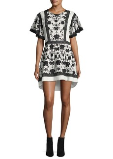 Joie Gaetena Crewneck Flutter-Sleeve Short Dress