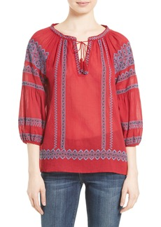 Joie Gauge Embroidered Peasant Top