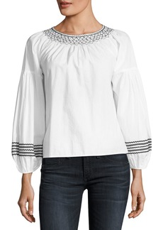 Joie Ghada Round-Neck Poplin Top with Embroidery