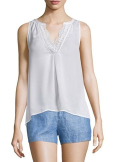 Joie Giovanna Lace-Trim Silk Top