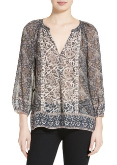 Joie Gloria G Mix Print Silk Top
