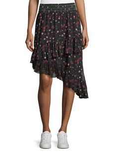 Joie Gorowen Floral-Print A-Line Silk Skirt