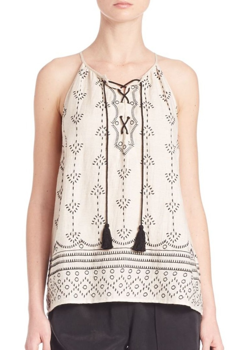 Joie Gough Geometric Embroidered Tank