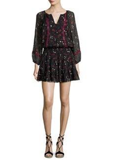 Joie Grover Floral-Print Silk Blouson Mini Dress