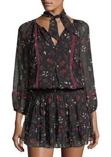 Joie Grover Smocked-Waist Silk Dress