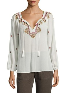 Joie Guilene Embroidered Silk Georgette Blouse