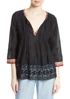 Joie Gustavie Embroidered Cotton Blouse