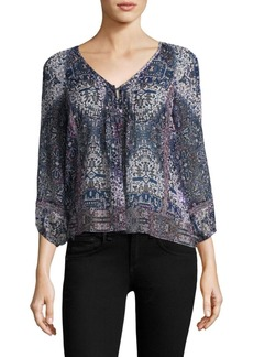 Joie Gwendalyn Tile-Print Silk Blouse