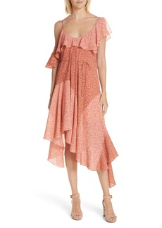 Joie Hacinthia Asymmetrical Mix Sleeve Silk Dress