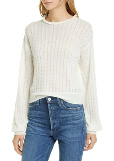 Joie Hadar Pointelle Wool Blend Sweater