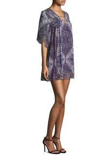 Joie Hadiya Lace-Up Tile-Print Silk Dress