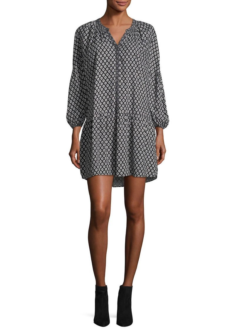 Joie Hagi Long-Sleeve Button-Front Printed Short Dress