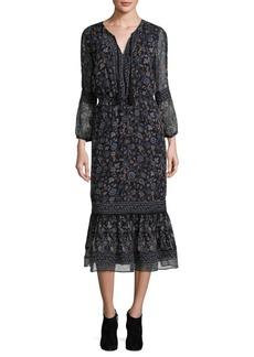 Joie Halima Floral Silk Midi Dress