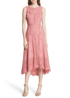 Joie Halone High/Low Eyelet Dress