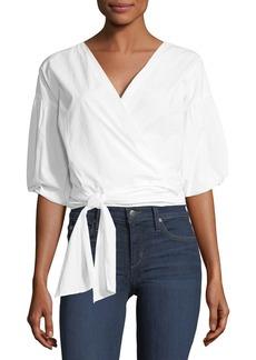 Joie Hausu Half-Sleeve Poplin Wrap Top