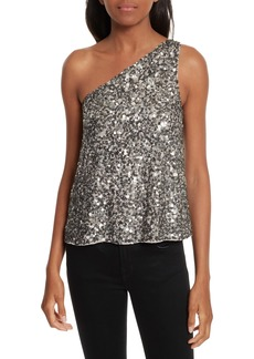 Joie Hedra One-Shoulder Sequin Top
