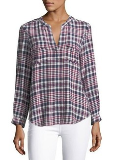 Joie Iloani Plaid Silk Top