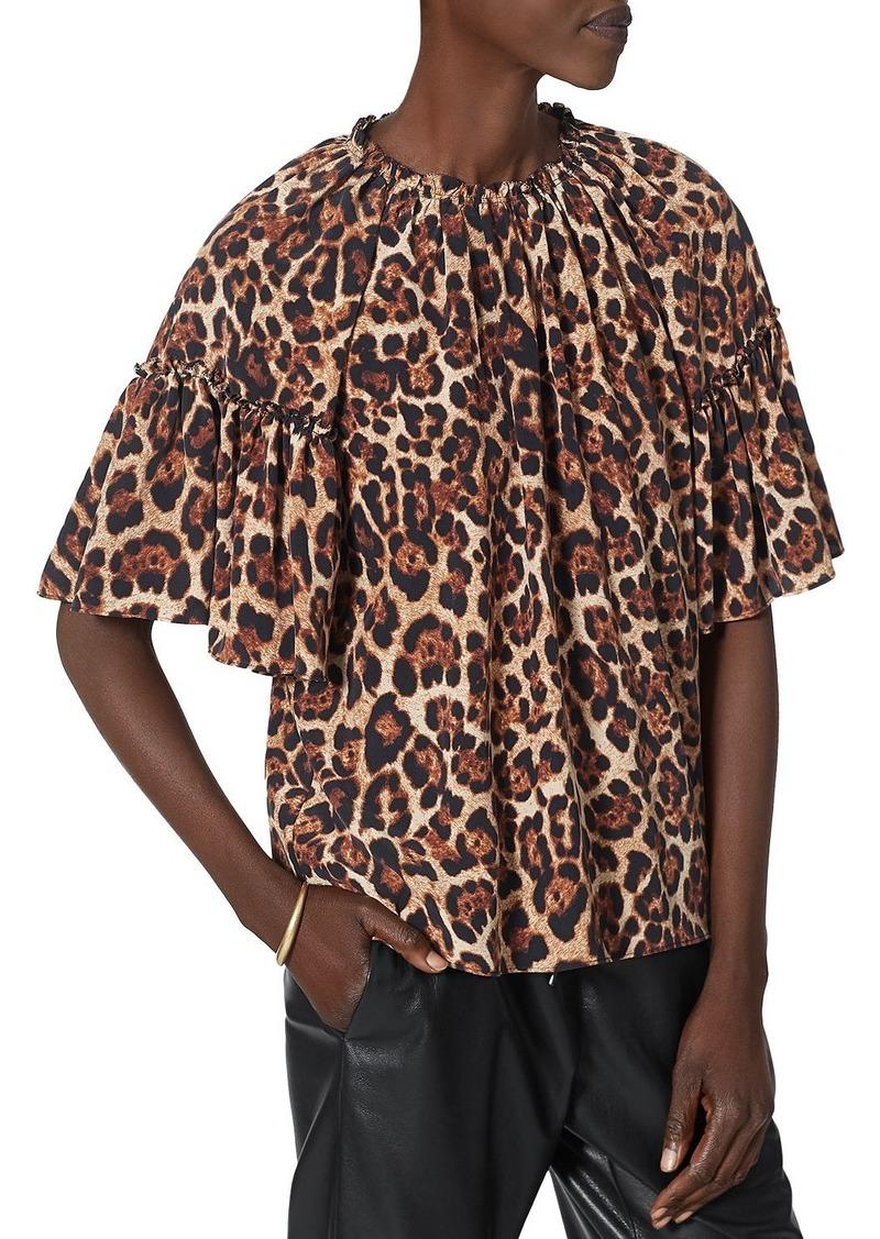 Joie Imani Animal Print Flutter Sleeve Top