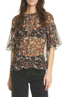 Joie Imani Floral Print Sheer Silk Blouse