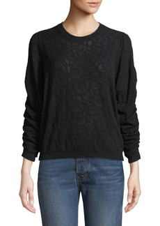 Joie Itana Leopard Jacquard Pullover Sweater