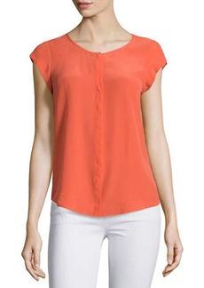 Joie Iva Cap-Sleeve Silk Blouse