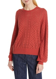 Joie Jaeda Pointelle Cotton & Cashmere Sweater