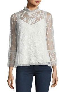 Joie Jaelin High-Neck Semisheer Lace Blouse