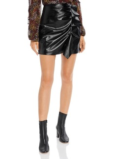 Joie Jain Ruffled Faux-Leather Mini Skirt