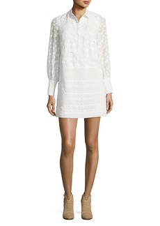 Jamari Embroidered Long-Sleeve Shirtdress