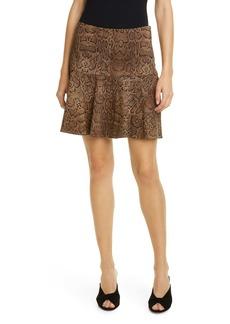 Joie Jamey Snake Print Ruffle Hem Stretch Cotton Skirt