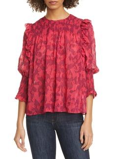 Joie Jamila Smock Detail Silk & Cotton Blouse