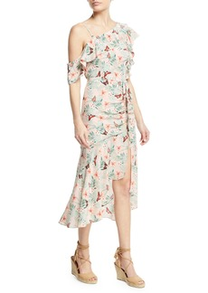 Joie Jamima Printed One-Shoulder Midi Dress