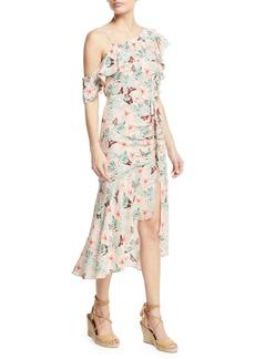 Joie Jamima Printed One-Shoulder Midi Dress