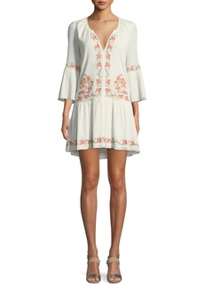 Joie Jarette Embroidered 3/4-Sleeve Mini Dress