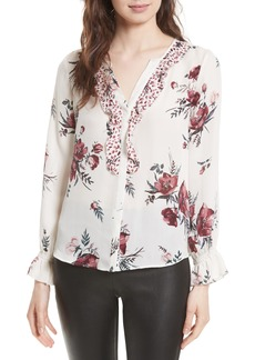 Joie Jayann B Ruffle Front Floral Silk Blouse