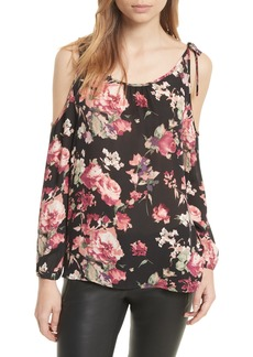 Joie Jilette Cold Shoulder Floral Silk Top