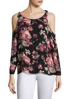 Joie Jilette Floral Cold Shoulder Silk Blouse