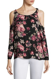 Joie Jilette Floral Cold-Shoulder Silk Blouse