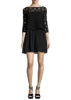 Joie Joie Lace-Top 3/4-Sleeve Dress