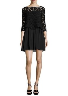 Joie Joie Lace-Top 3/4-Sleeve Dress
