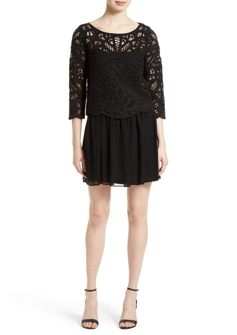 Joie Jordie Crochet Overlay Chiffon Dress