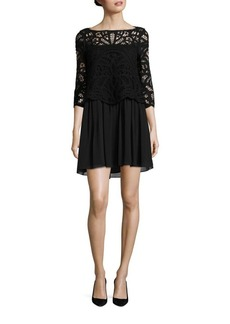 Joie Jordie Knotted Soutache Silk-Blend Dress