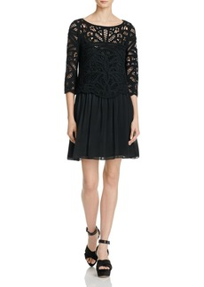 Joie Jordie Lace-Overlay Silk Dress