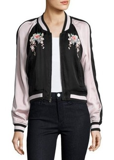 Joie Juanita Floral-Embroidered Bomber Jacket