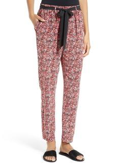 Joie Julietta Floral Silk Tie Waist Pants