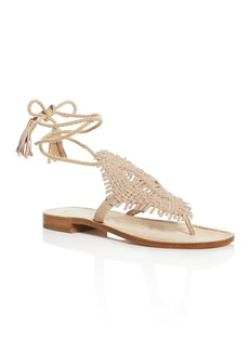 Joie Kacia Metallic Woven Ankle Tie Thong Sandals
