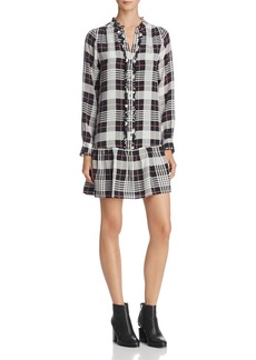 Joie Kaisa B Plaid Ruffled Silk Dress
