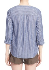 Joie 'Kalan' Cotton Split Neck Roll Sleeve Shirt