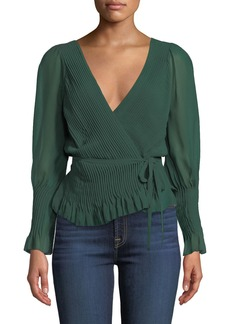 Joie Kaliska Pintuck Tie-Front Long-Sleeve Top